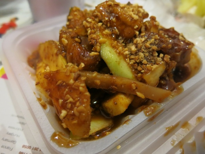 Chinese rojak, mostly vegetables mixed in a sticky shrimp based sauce
